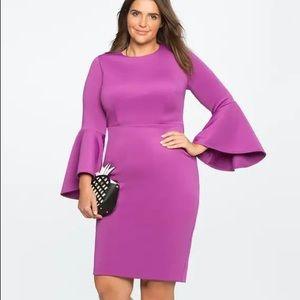 Eloquii Plus Flare Sleeves Scuba Dress Purple